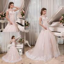 Blush Pink Mermaid Wedding Dresses Cap Sleeves Bridal Ball Gowns Petites Plus Photo