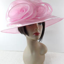 Blush Pink Organza Triple Ruffled Wide Brim Hat Church Derby Dress Free Ship   Photo