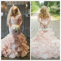 Blush Pink Organza Wedding Dress Mermaid Bridal Gown Lace Up Custom Size 2 4 6 8 Photo