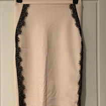 Blush Pink Pencil Skirt Bodycon Black Lace Size 6 8 Small Charlotte Russe Photo