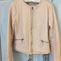 Blush Pink Quilted Faux-Leather Motorcycle Jacket M Cute Photo