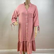 Blush Pink Seersucker 3/4 Peasant Balloon Sleeve Midi Shirt Dress S Gauze Ruffle Photo