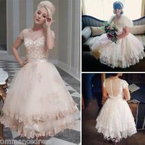Blush Pink Short Wedding Dresses Lace Sheer Back Tea Length Princess Bridal Gown Photo