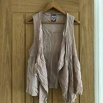 Blush Pink Sleeveless Top With Waterfall Front & Lace Detail - Size S/m Photo