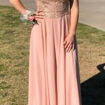 Blush Pink Strapless Prom Dress Medium M Elizabeth K Tie Corset Back Sparkle 4 6 Photo