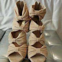 Blush Pink Suede Bow Sandals Sz 8.5 Photo