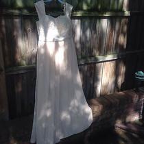 Blush Pink/tan Long Chiffon Beaded Corset Top Bridesmaid Dress Womens Size 11/12 Photo