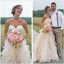 Blush Pink Tiered Wedding Dresses Strapless Princess Bridal Gowns Custom Made Photo