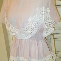 Blush Pink Two in One Blouse W/white Battenberg Lace Trim  Photo