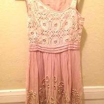 Blush Pink Vintage Sleeveless Lace Crochet Mini Dress Xs Photo