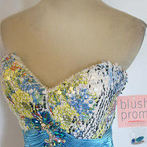 Blush Prom 9320 Blue Multi Prom Evening Gown 4 - 418 Nwt Photo