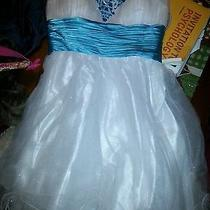 Blush Prom by Alexia Size 14 Turquoise & White Sparkly Homecoming/prom Dress Photo