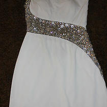Blush Prom by Alexia Sz 4 Formal Short Dress C153 Sheer Beaded One Shoulder  Photo
