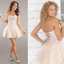 Blush Prom Crystal Pink Short Formal Homecoming Dress Pink Sz 14 Corset Back Photo