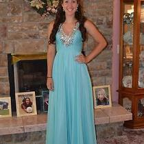 Blush Prom Gown (Size 2) in Pool Blue Photo