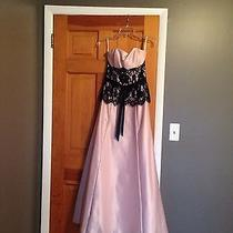 Blush Prom or Formal Gown With Black Lace Accent Photo