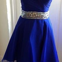 Blush Prom Short Dress New With Tags Cobalt Blue Size 14 Photo