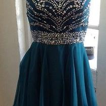 Blush Prom Short Dress New With Tags Midnight Green Size 10 Photo