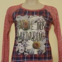 Blush Red Long Sleeve Embellished You're My Daydream Floral Graphic Top L Qco Photo