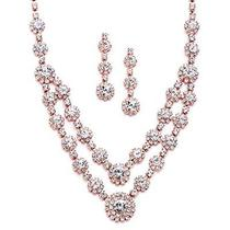 Blush Rose Gold 2 Row Rhinestone Crystal Necklace Earrings Set Prom Brides & Photo
