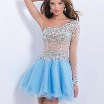 Blush Short Dress 6-8 Prom Pageant Homecoming-Nude/lt Blue -Sherri Hill Like Photo