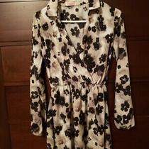 Blush Short Dress Long Sleeved Black/white/tan Floral Size Small Photo