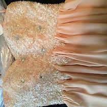 Blush Strapless Beaded Prom Dress Photo