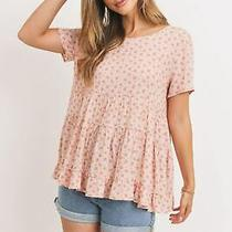 Blush Tiered Floral Top With Back Tie Photo