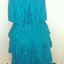 Blush Turquoise Ruffle Dress Size M Photo