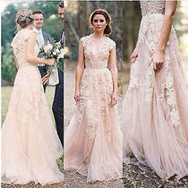 Blush Vintage Lace Ball Gown Wedding Dresses Cap Sleeve Bridal Gowns Custom Size Photo