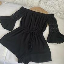 Blush Women Size Large Solid Black 3/4 Bell Sleeve Romper Photo