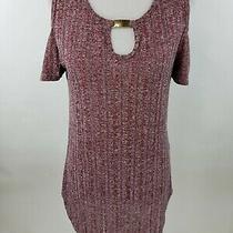 Blush Womens Plus Size 1x Cold Shoulder Top Metal Embellishment Key Hole Wine Photo