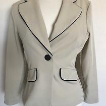 Blush Womens Single Button Pipping Neckline Lined Beige Blazer Jacket Size 5/6 Photo