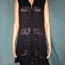 Blushes Bathing Suit Cover Up S Small Solid Sheer Black Front Zipper Hood Photo