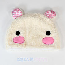Blushing Bunny Checkered Fuzzy Beanie Hat  - Cap Adult and Teens Photo