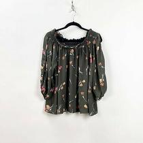 Blushing Heart Large Womens Gray Flower Print Cold Shoulder Top Photo