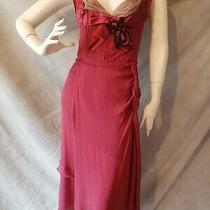 Bn Prada Cabernet Silk Chiffon Blush Netting Ribbon Jet Beads Applique Dress 40 Photo