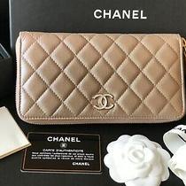 Bnib 19s 100%Auth Chanel Iridescent Beige Caviar Leather Zip Long Wallet/clutch Photo