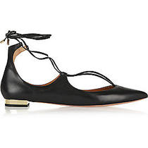 Bnib Aquazzura Christy Black Leather Point-Toe Flats Size 40.5 Uk 7.5 Sold Out  Photo