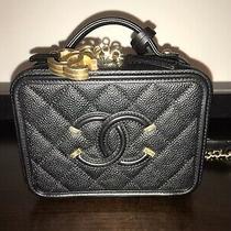 Bnib Authentic Chanel Cc Filigree Black Caviar Vanity Case Blush Gold Hardware Photo