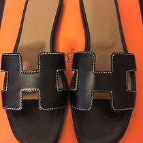Bnib Authentic Hermes Black Calf Skin Oran H Sandals Slippers 37 7 Photo