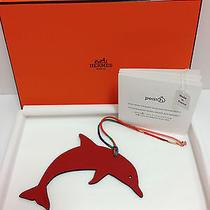 Bnib Authentic Hermes Petit H Dolphin Charm Keychain Red Dark Brown New Photo