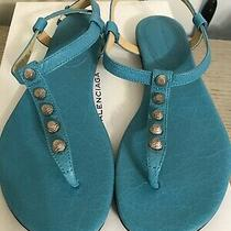 Bnib Balenciaga 5 Studded Thong Sandal Turquoise Blue Sz 36.5 Photo