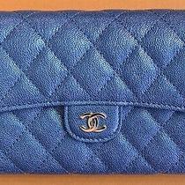 Bnib Chanel 19s Blue Iridescent Caviar Medium Wallet Photo