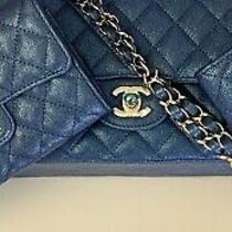 Bnib Chanel 19s Iridescent Blue Caviar Wallet & Key Mini O Case Card Pouch Set Photo