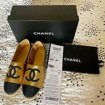 Bnib Chanel 725 Cc Logo 19a  Gold Leather Cap Toe Espadrilles  Flats Size 38 Photo
