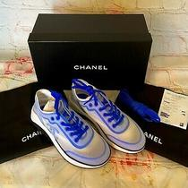 Bnib Chanel 900tax  19p Blue Lycra Cc Logo Lace Up Trainer Sneakers Size 37  Photo