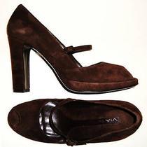 Bnibgorgeous via Spiga Dark Brown Suede Mary Jane Heels/shoes 9m Photo