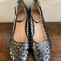 Bnib Jeffery Campbell Sz 9 Black Leather Wedge Heels Cut Outs Ankle Straps Shoes Photo