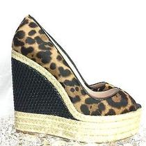 Bnwob Brian Atwood Leopard Wedge Pumps Sz 37 ( 7 Us) Luxurious  Hot  Photo